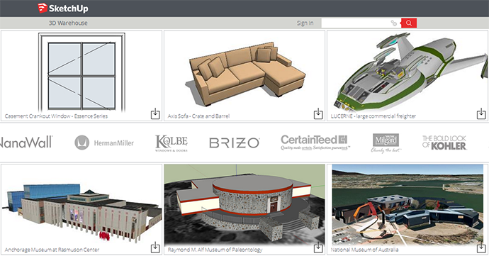 New look 3D Warehouse for SketchUp 2014