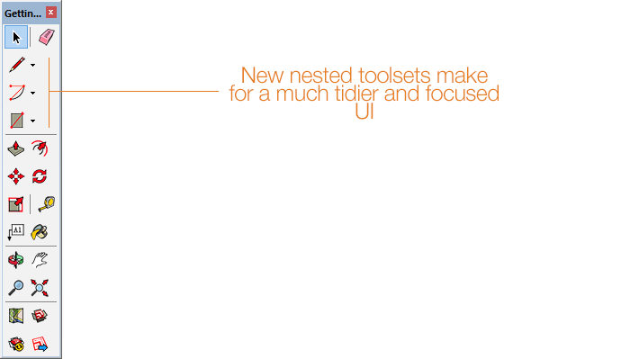 New nested Toolset in SketchUp 2014