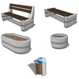 Image for Stone Benches, litter bin, flower pots
